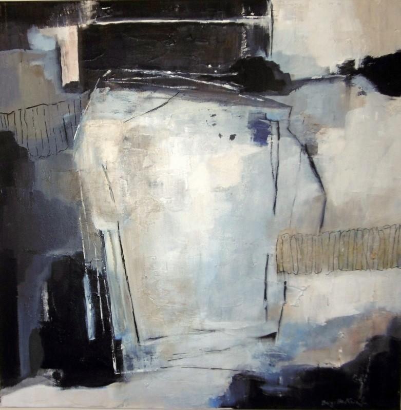 Brigitte Krief - ABSTRAIT gris à la forme rctangulaire
