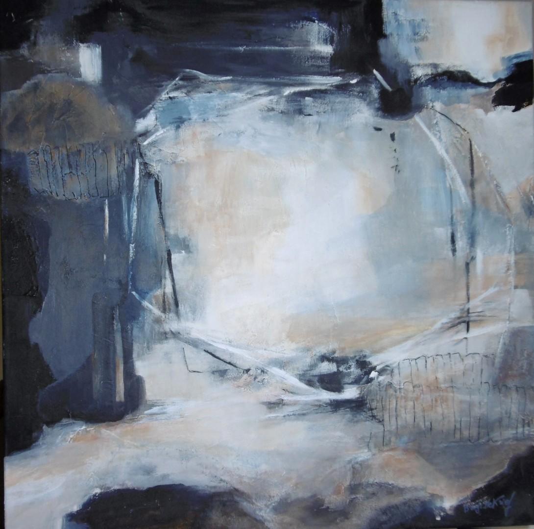 Brigitte Krief - ABSTRAIT gris-bleu à la forme carrée