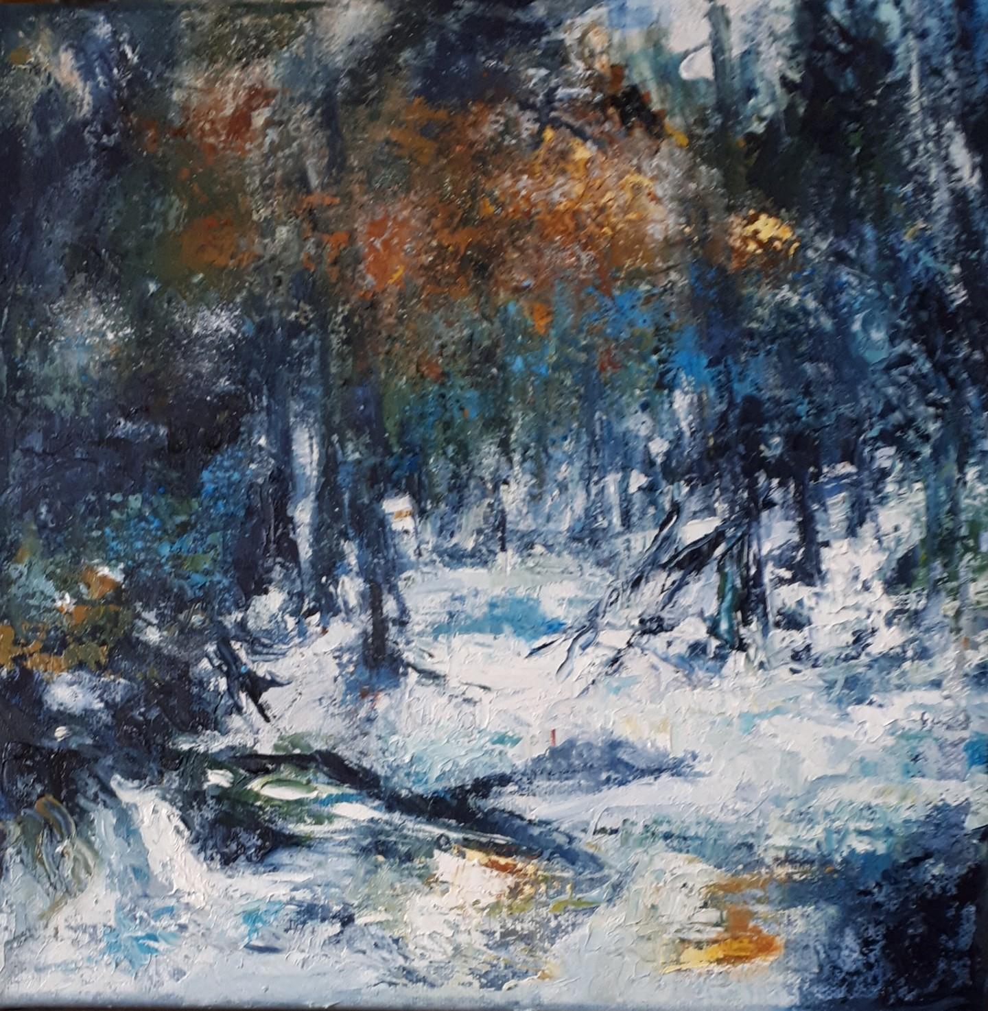 Brigitte Krief - SOUS-BOIS 9 sous la neige  30 x 30cm