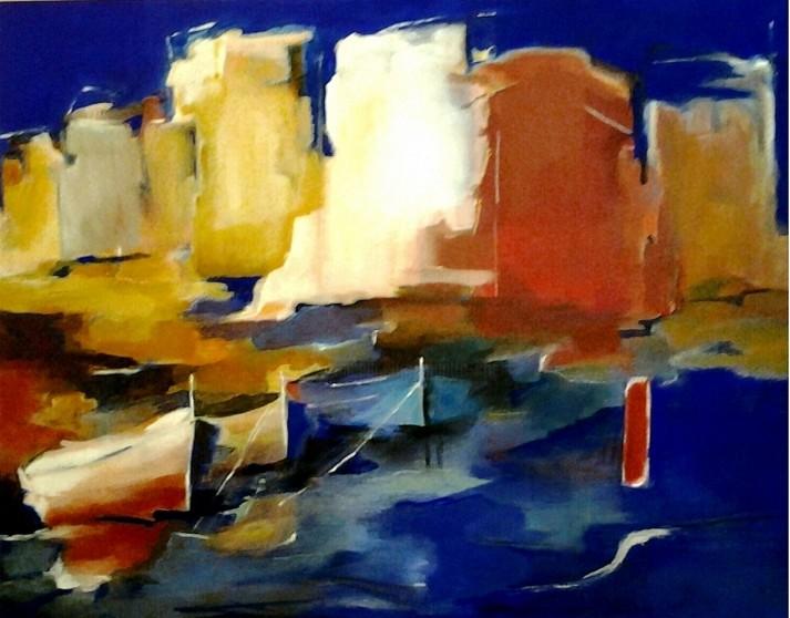Brigitte Krief - 3 BATEAUX ocres jaune, ocre rouge, bleu