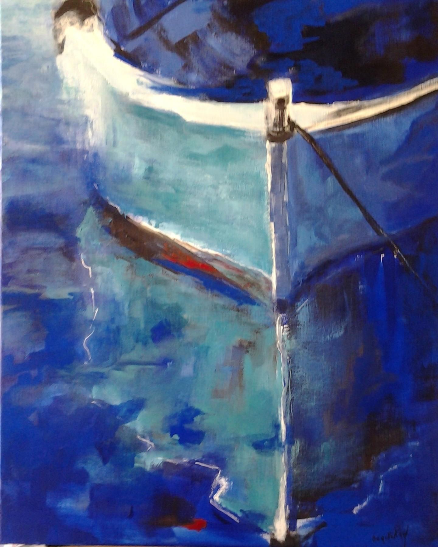 Brigitte Krief - BARQUE à L'ANCRE bleu, turquoise
