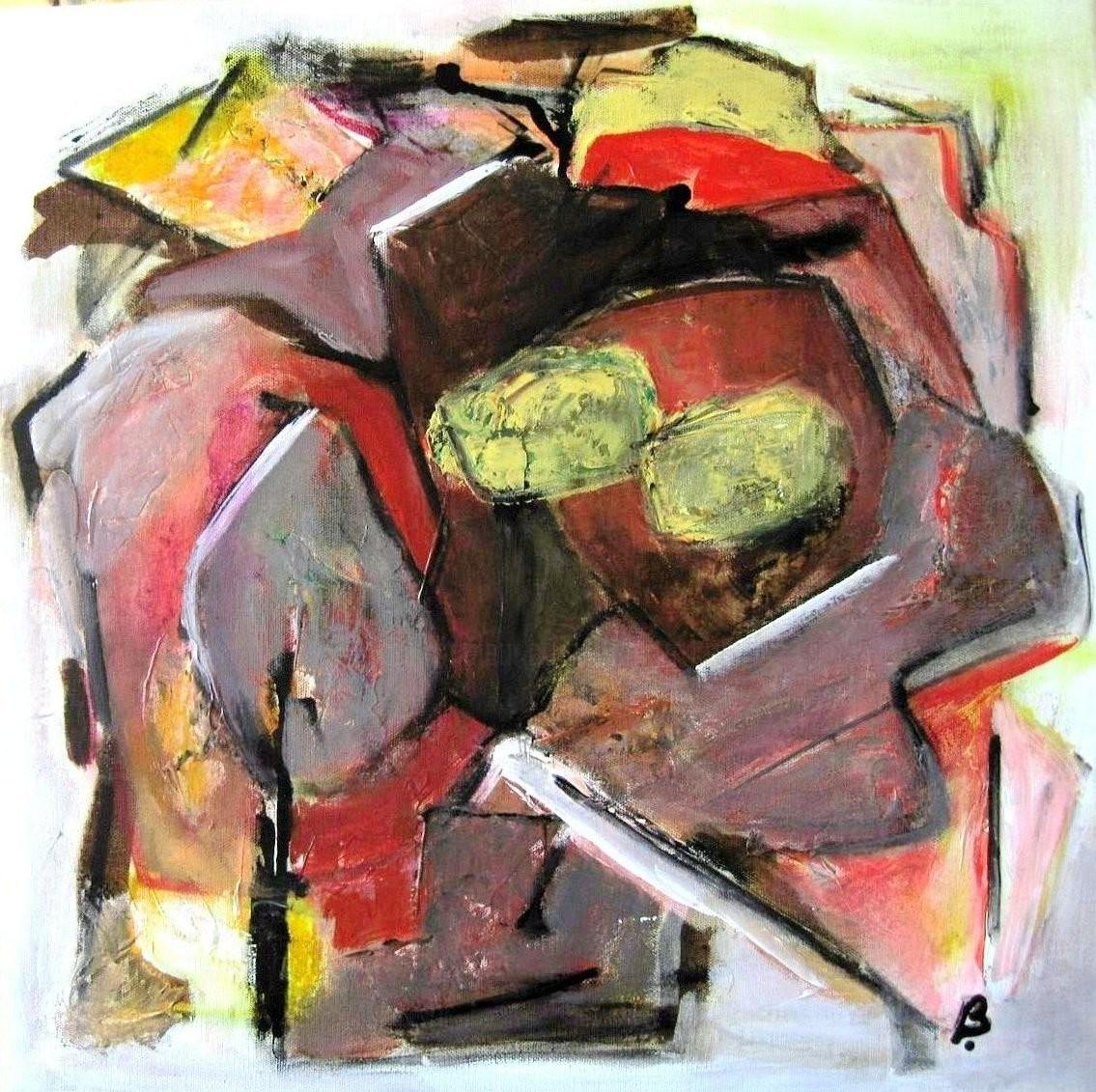 Brigitte Krief - ABSTRAIT aux formes jaunes