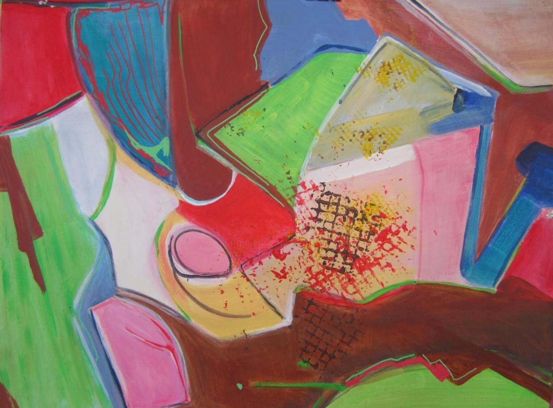 Brigitte Krief - ABSTRAIt 4:  rouge,vert, rose, marron,bleu