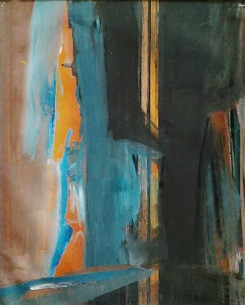 Brigitte Krief - ARBRES ABSTRAIT orange, bleu, noir