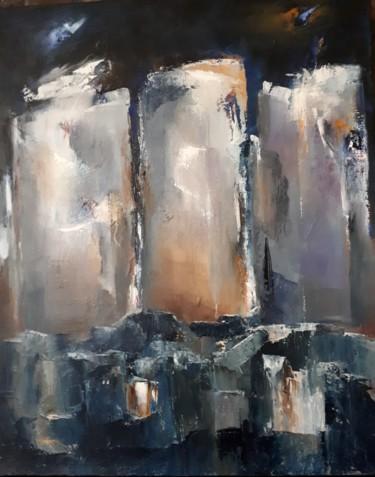L'HEURE CREPUSCULAIRE , 3 tours dans la nuit  81 x 65 cm