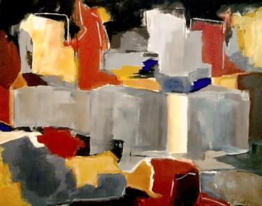 PAYSAGE URBAIN gris, jaune, rouge 65 x 81 cm